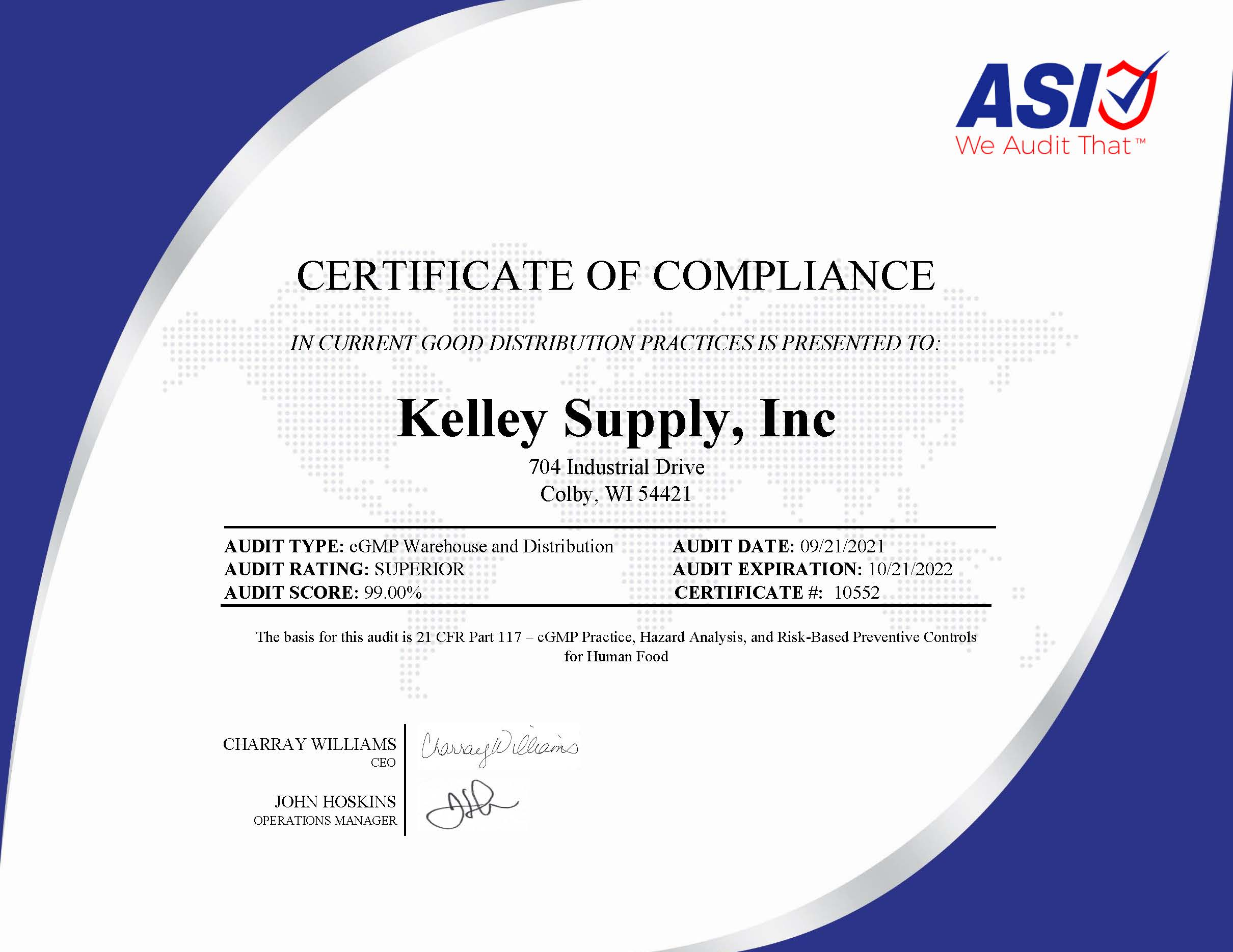 Kelley Supply, Inc. Distribution Center Audit Certificate